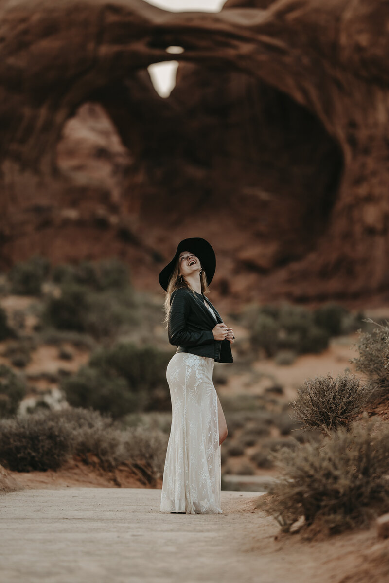 Edgy Boho Desert Utah Arches National Park Bridal Session 083