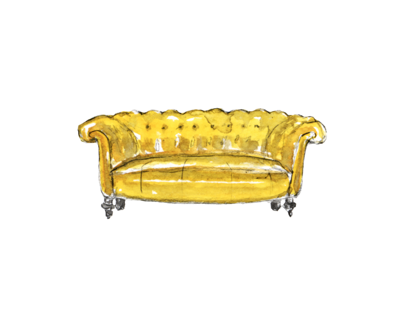 A painted tufted yellow settee.