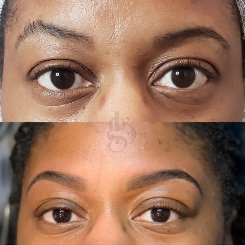 women getting powder brows done