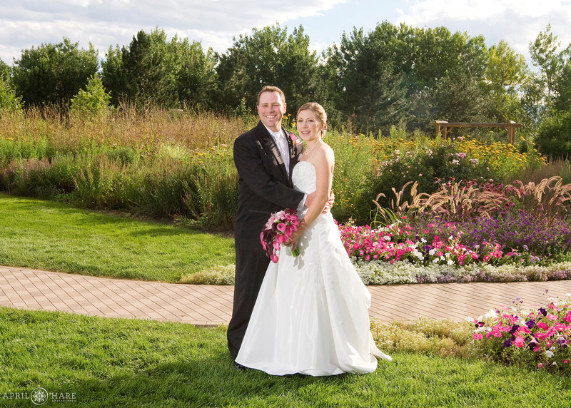 Summer wedding portrait on a bright sunny day at Hudson Gardens