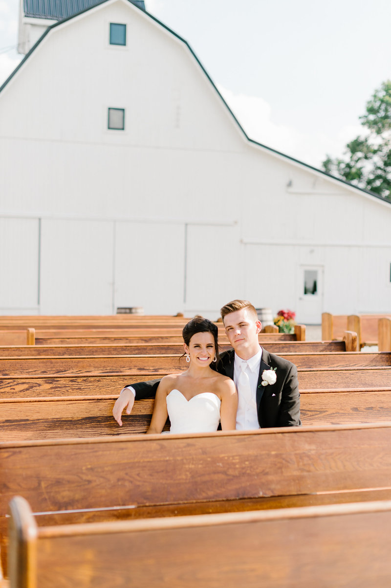 Outdoor Pews with Bride & Groom