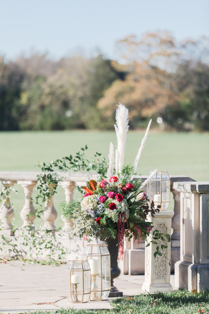 ceremony floral arrangements at great marsh estate wedding in northern virginia by costola photography