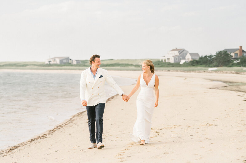 Elizabeth and Jared's Wauwinet Wedding Portrait on the beach