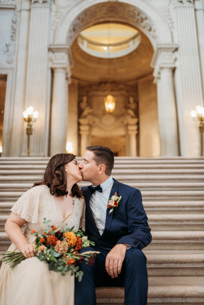 Couple on San Francisco City Hall Grand Staircase