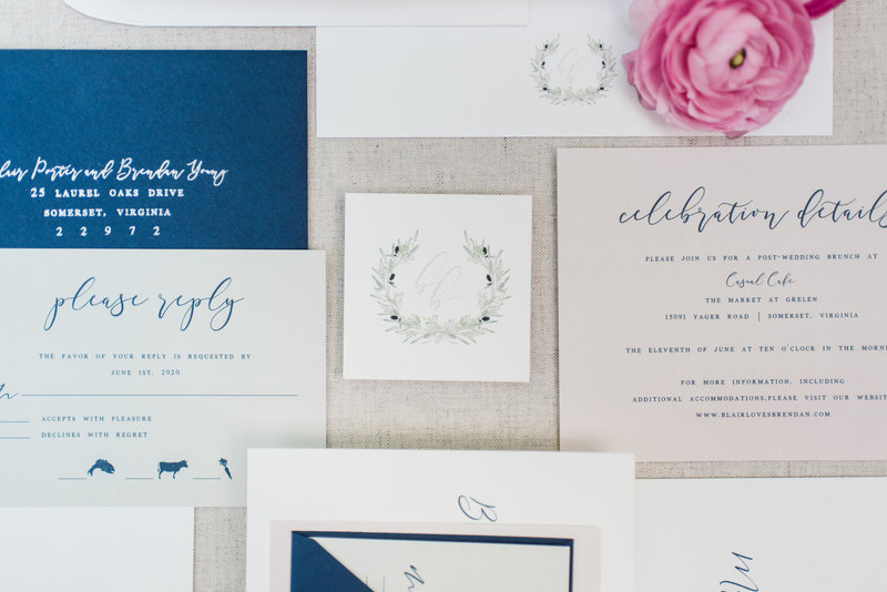 Finley Laurel Modern Calligraphy  Wedding Invitation