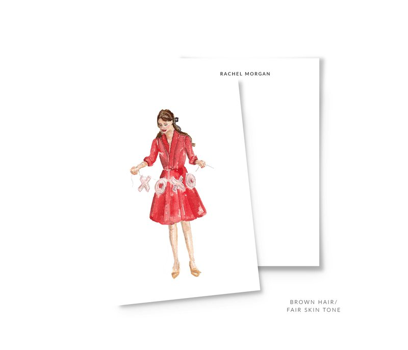 valentines personalized stationery brown hair the illustrated life