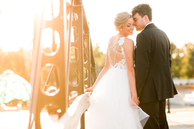 Golden light bride and groom portrait