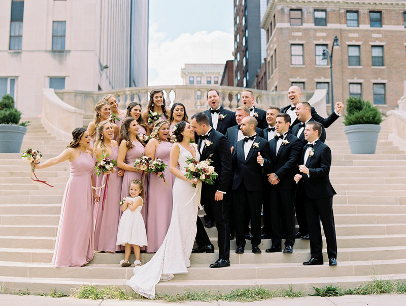 Bridal Party on Mt. Vernon Steps in Baltimore, Maryland