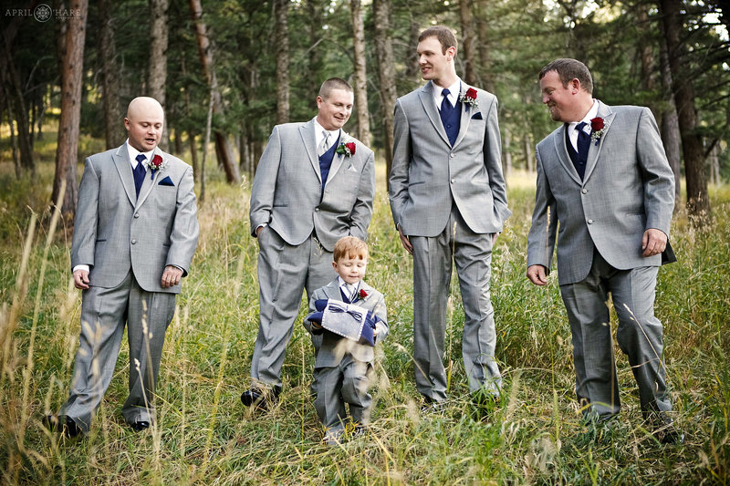 Groomsmen portrait in the woods at The Pines at Genesee