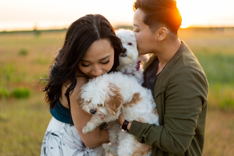 Lesbian couple with their dogs for Steveston engagement