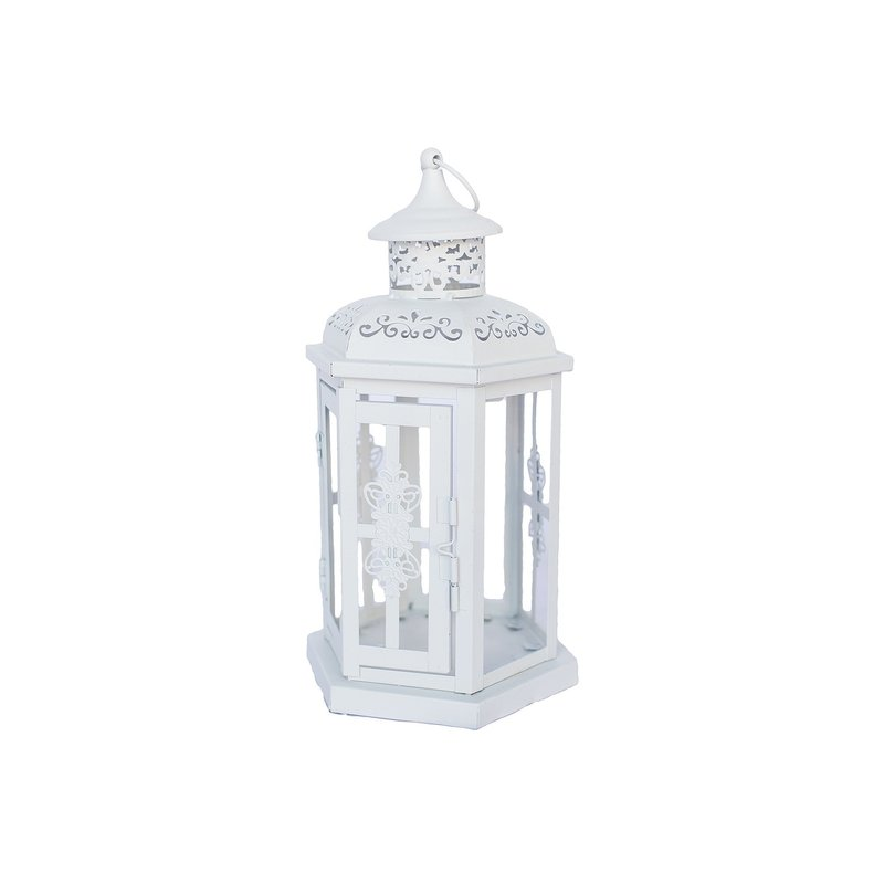 Small white metal lantern.