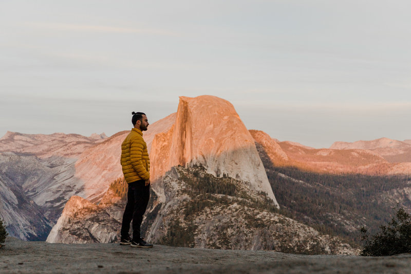 photo of stephen in yosemite looking at half dome during sunset