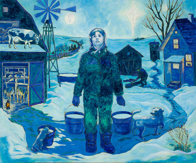 farmwoman in blue oil painting holding milk pails in moonlight with cat, dog, cow on roof, windmill on farm scene with cows