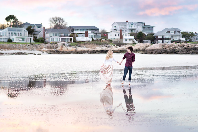 beach engagement sunset photos Gloucester, MA by Q Hegarty Photography Boston wedding photographer