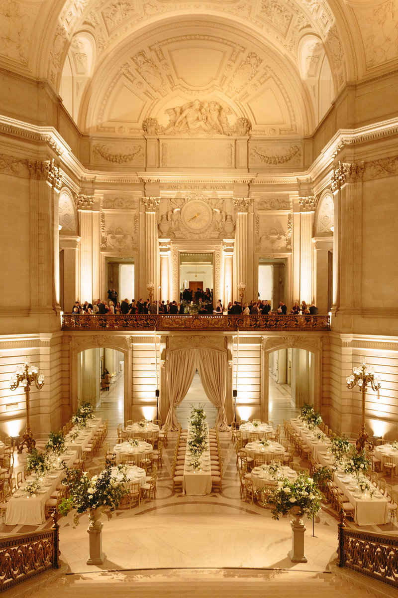Reception for wedding by Jenny Schneider Events at the San Francisco City Hall. Photo by Larissa Cleveland Photography.