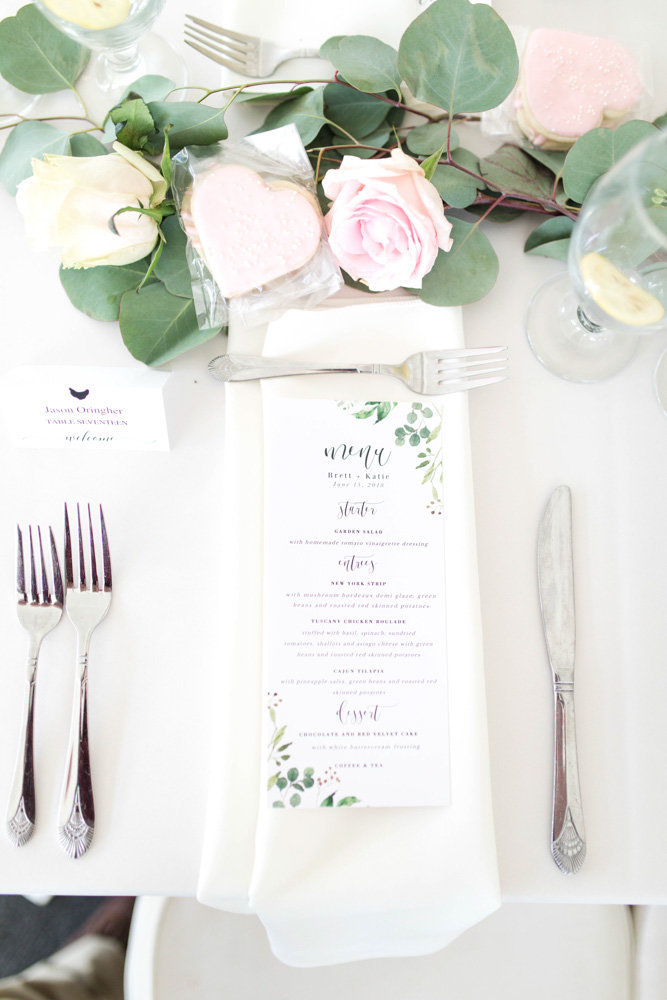 menus at reception tables at springfield manor winery and distillery wedding by costola photography