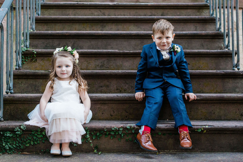 Nicole and Robert's elopement in Historic Savannah with their kids