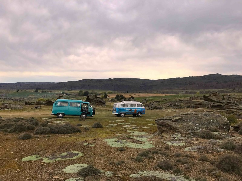 View of Nessa with Rhonda in Central Otago, kombi camper vans from NZ Kombi Hire, Invercargill, New Zealand