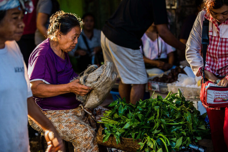 woman selling vegetables at Bali market