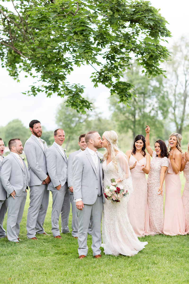 Bride and Groom with bridal party at Gervasi Vineyard, Cleveland Ohio Wedding Photographers