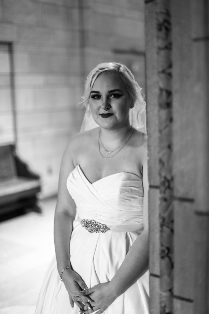 Solo portrait of bride before  first look with groom at Cathedral of Learning in Pittsburgh, PA