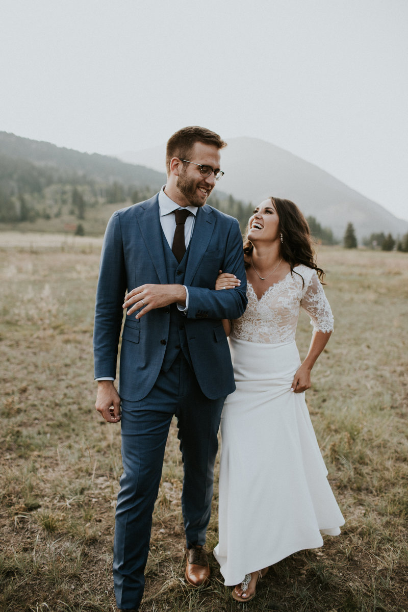 Big Sky MT Ranch Wedding Couple Laughing