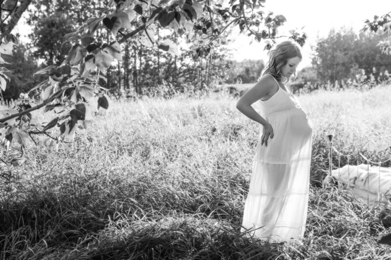 expectant mom in field with sheer dress