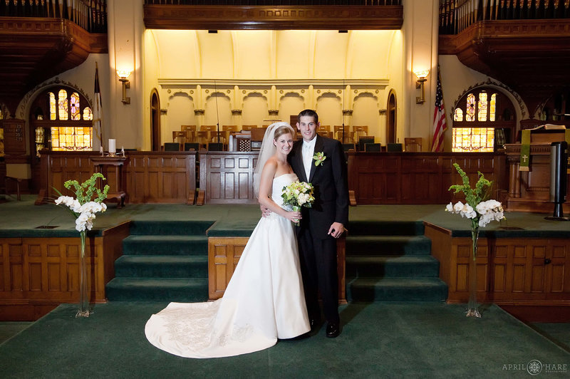Formal wedding pictures done on the altar area at the historic Central Presbyterian Church in Denver