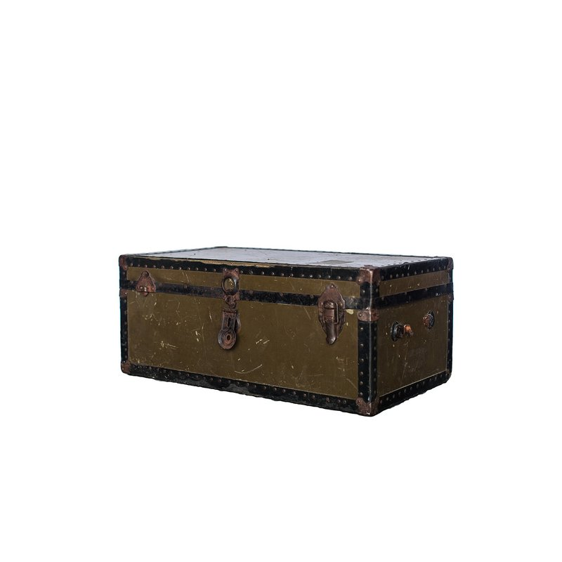 Small trunk with brass hardware.