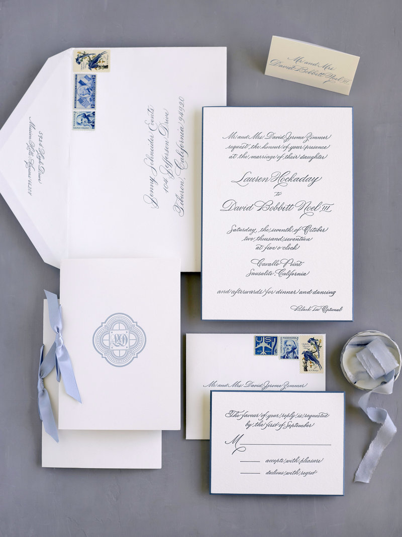 Invitation for wedding by Jenny Schneider Events at Cavallo Point luxury resort in Sausalito in Marin County, California. Photo by Lacie Hansen Photography.