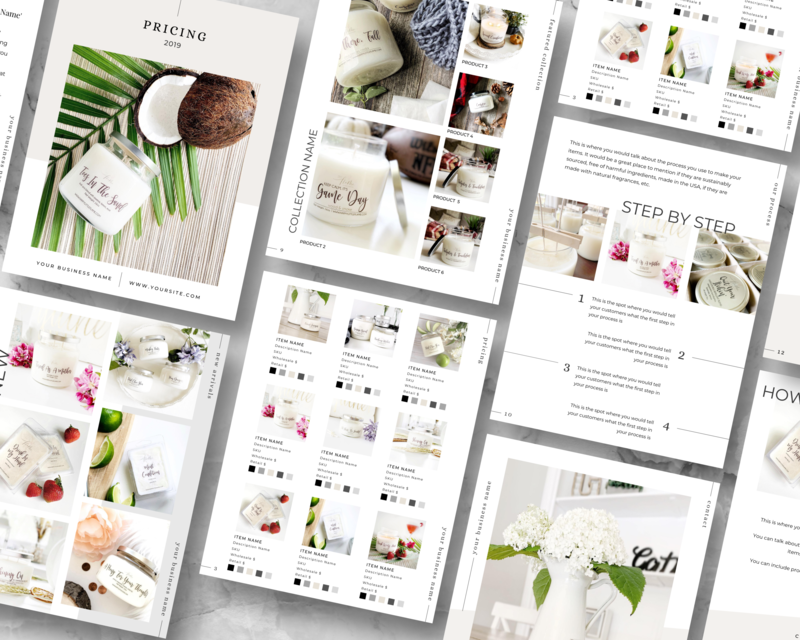 This professional line sheet template in Canva format allows you to professionally showcase your products for wholesale.