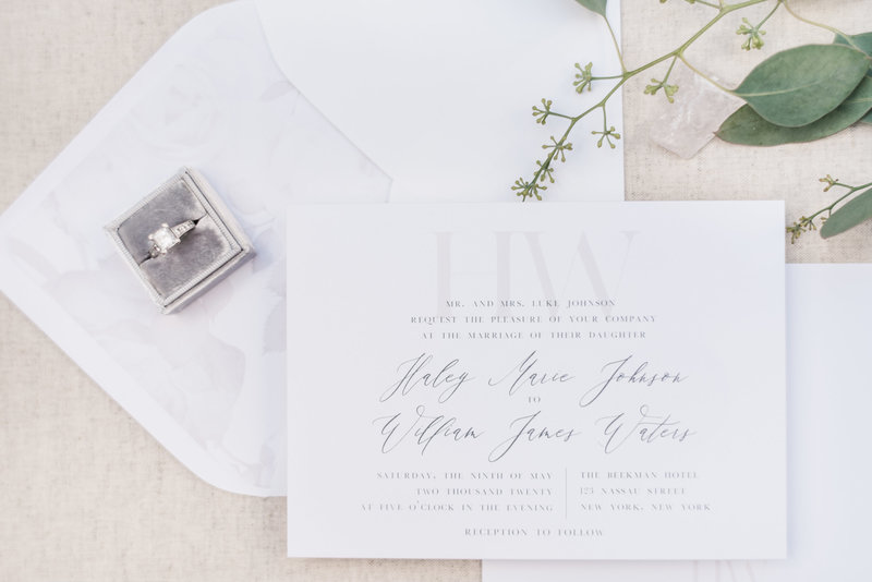 Haylen Modern Monogram Wedding Invitation