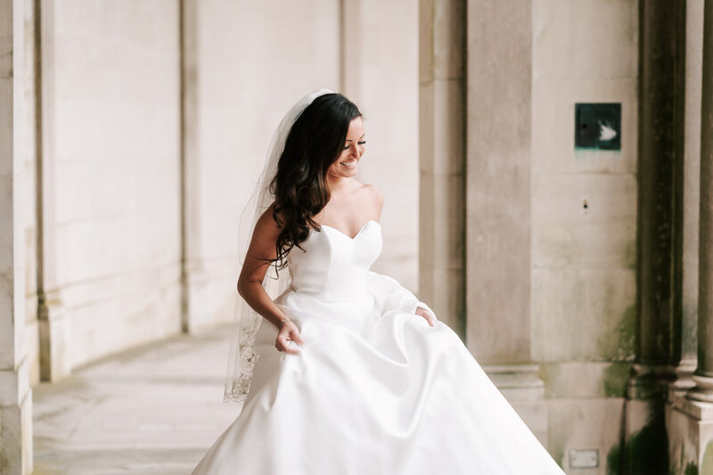 new jersey wedding photography for a lovely image of a bride walking to her first look