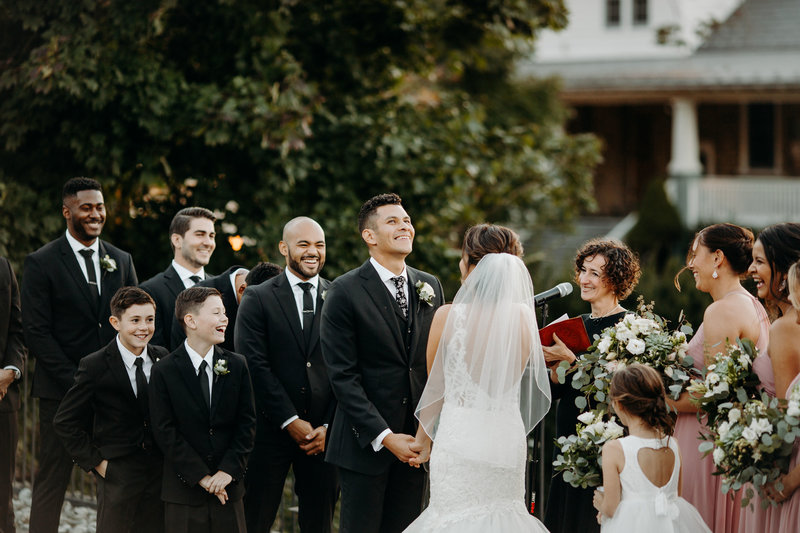 Irene Blough of Lehigh Valley Celebrants officiates a custom crafted, elegant wedding ceremony for a mixed faith couple on their joy filled day of celebration.
