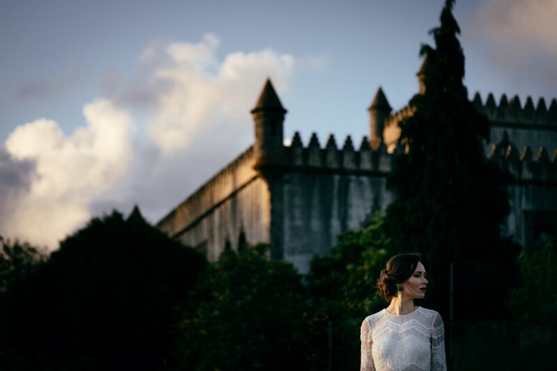 Bridal Portrait in front of Castelo de Portulezo in Portugal