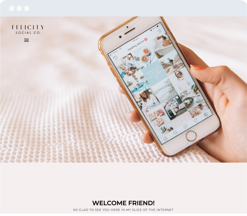 felicity showit template no menu screen mockup