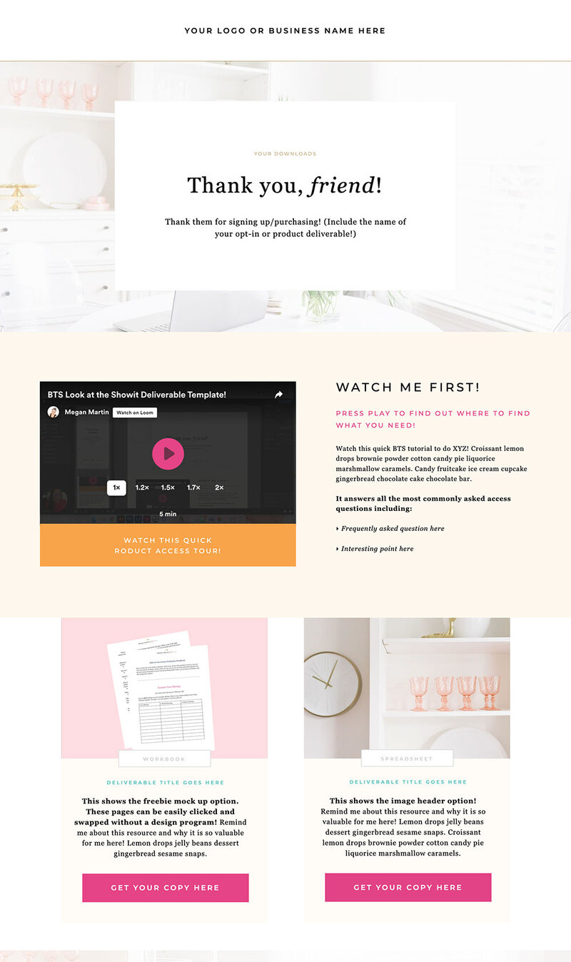 Showit Funnel Template to Deliver your product or opr-in download
