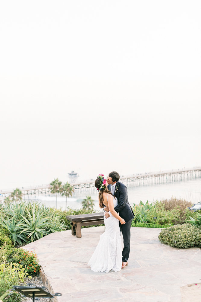 wedding at casa romanica in san clemente at sunset