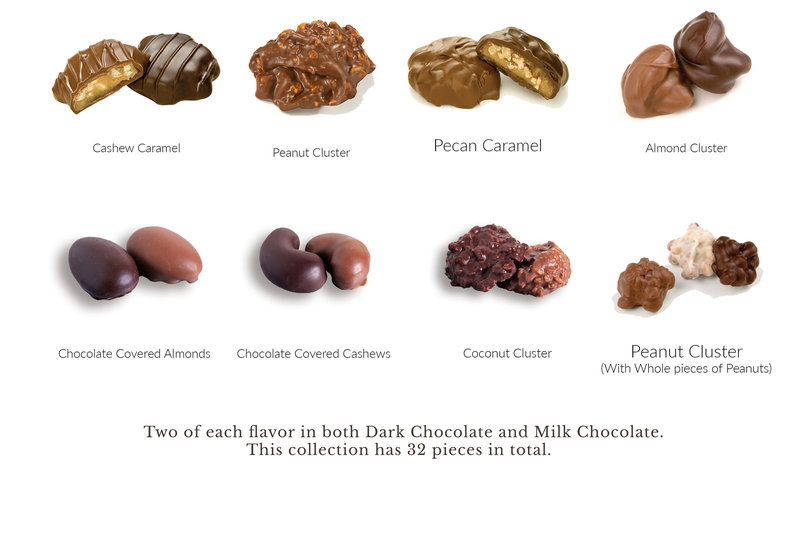 What's In the Box 32pc Dark and Milk Nut