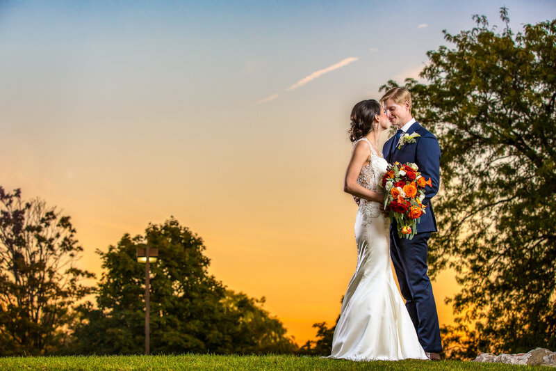 The bride and groom at sunset in Des Plaines, IL.