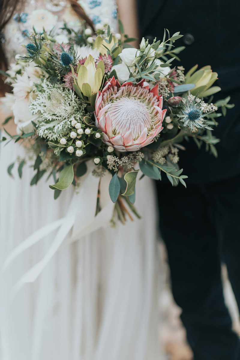 boho-wedding-bouquet-king-protea