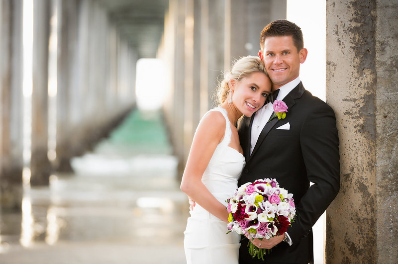 Scripps Pier wedding photos bride and groom pacific ocean