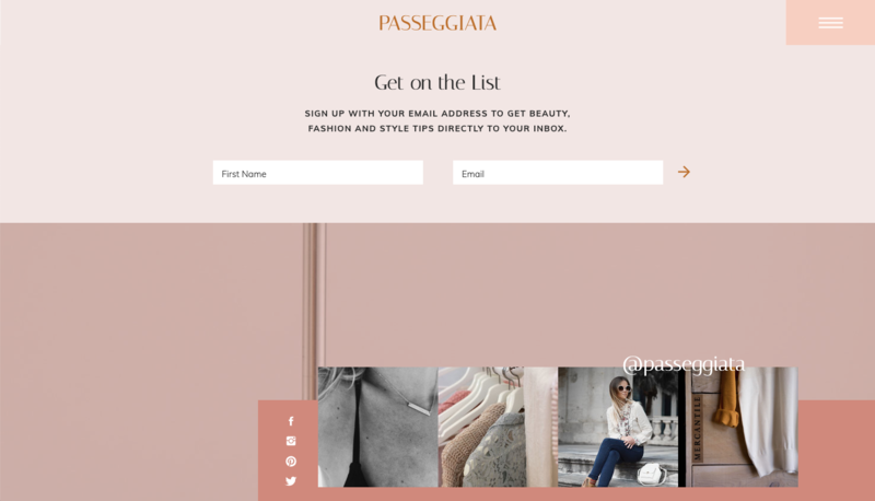 Passeggiata Showit Website Template Footer