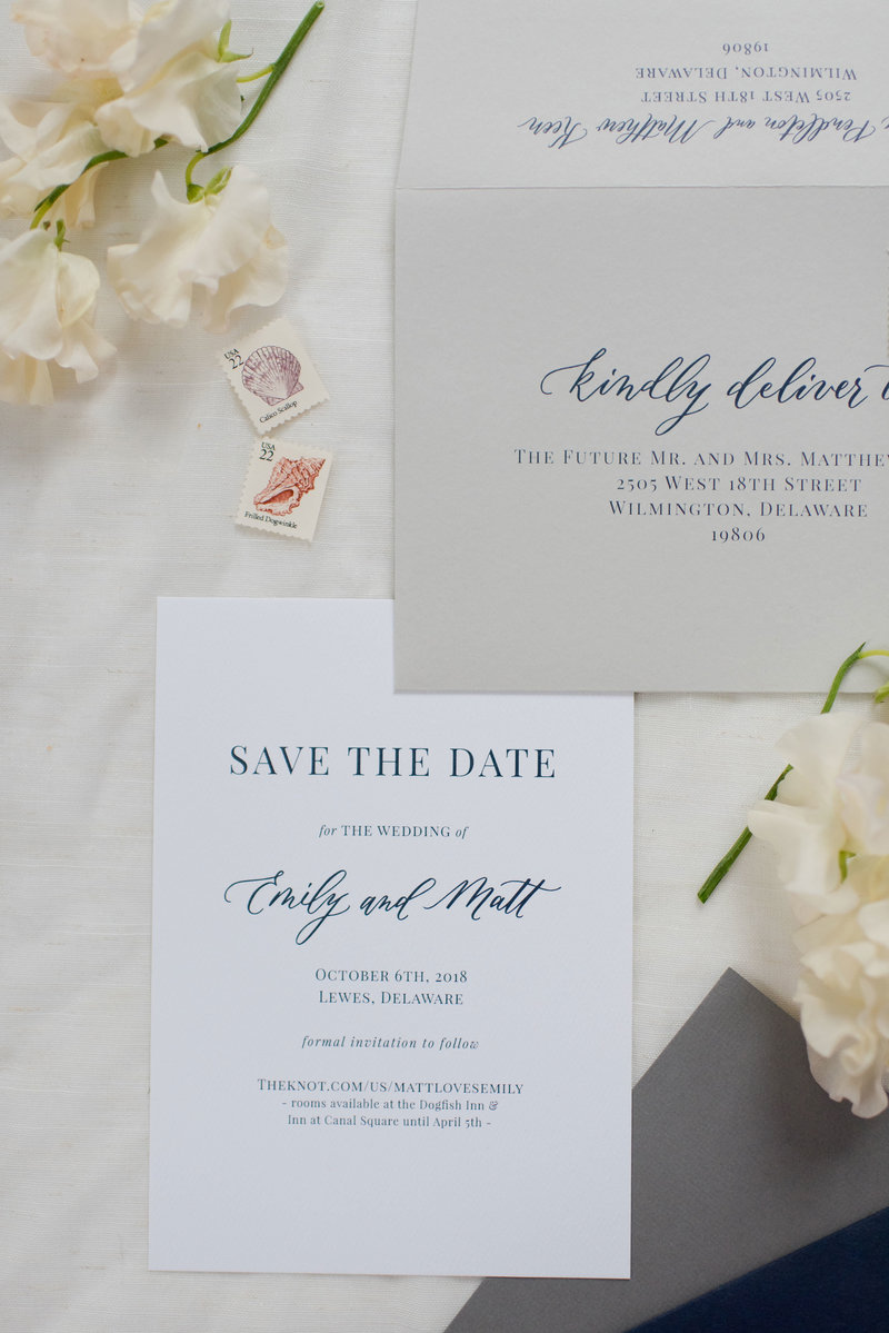 Modern gray and navy wedding invitation suite