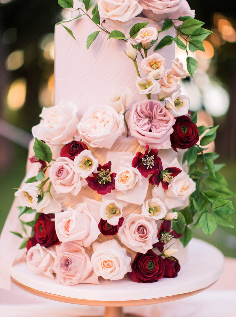 4 tier blush and red luxury floral wedding cake  Zambia | Mon Annie