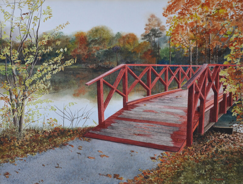 Early Morning Walk Watercolor Painting at Baylor School in Chattanooga by Alan Shuptrine