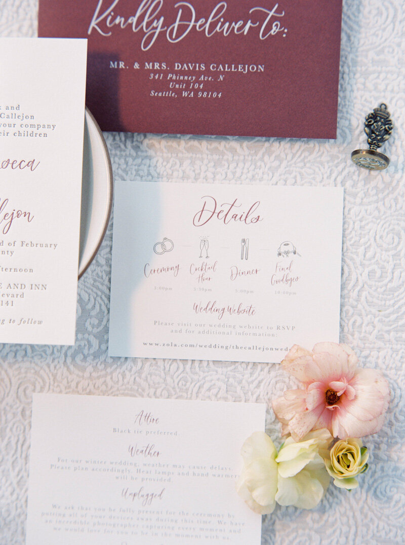 pirouettepaper.com _ Wedding Stationery, Signage and Invitations _ Pirouette Paper Company _ The West Shore Cafe and Inn Wedding in Homewood, CA _ Lake Tahoe Winter Wedding _ Jordan Galindo Photography  (12)
