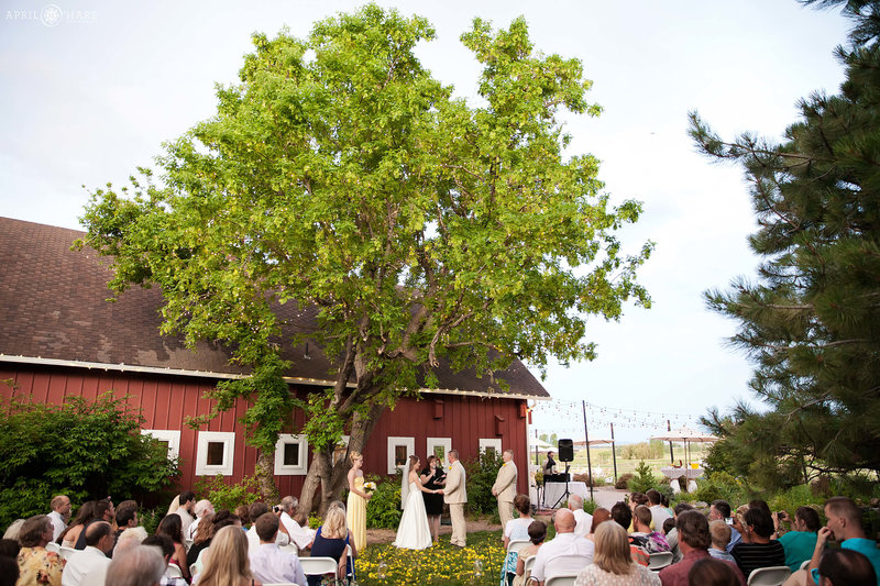 Wedding ceremony next to red barn at Chatfield Farms