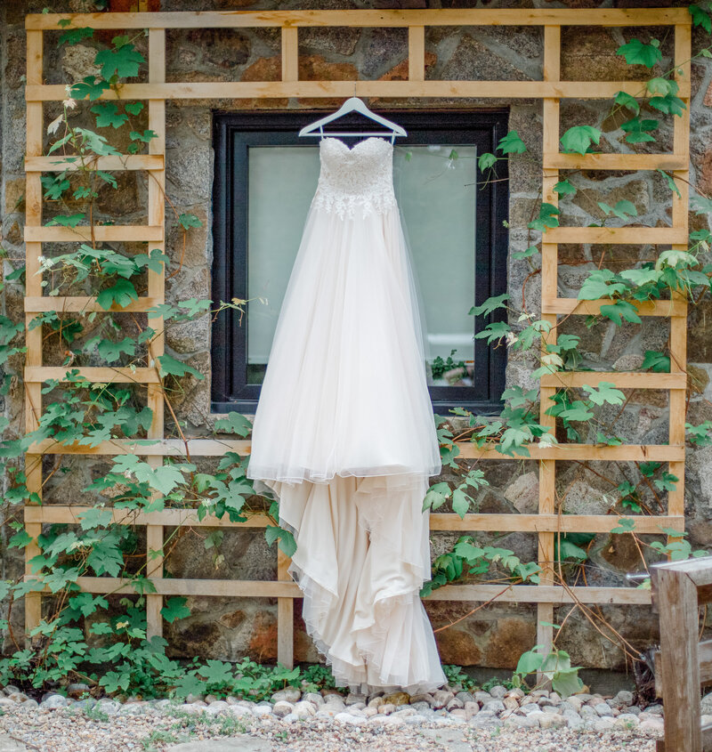 wedding dress hung outside at the wakefield grand