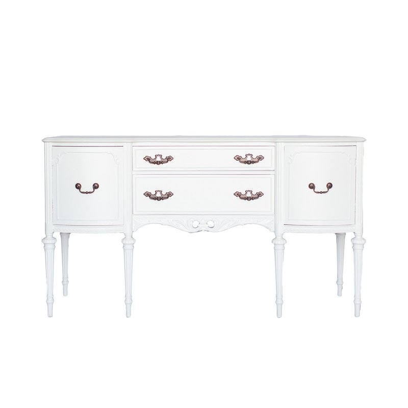 Distressed white buffet.